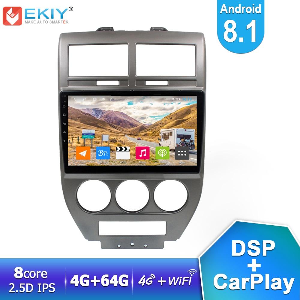 Ekiy dsp ips player multimídia automotivo, android 8.1, 4 gb + 64 gb, para jeep bússola 2007 2008 2009, auto rádio estéreo gps navi wifi carplay hu