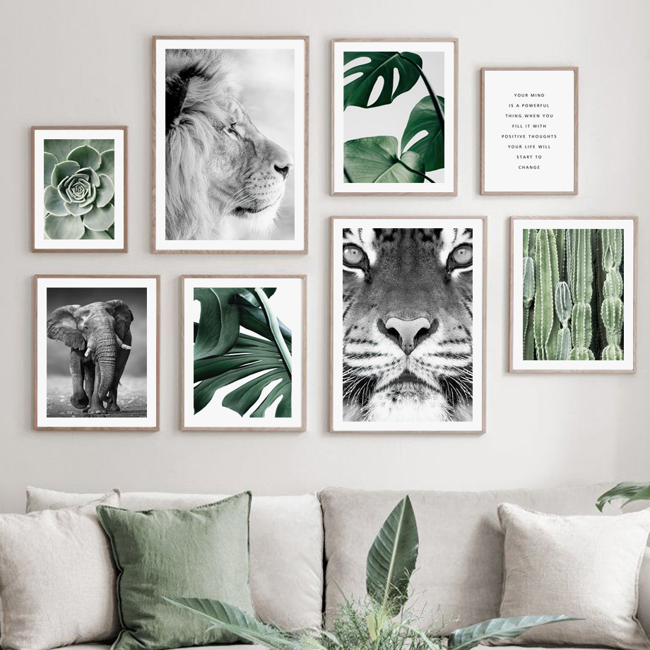 Lion Tiger Elephant Nordic Vintage Poster Green plants cactus Wall Art Print Canvas Painting Wall Pictures For Living Room Decor