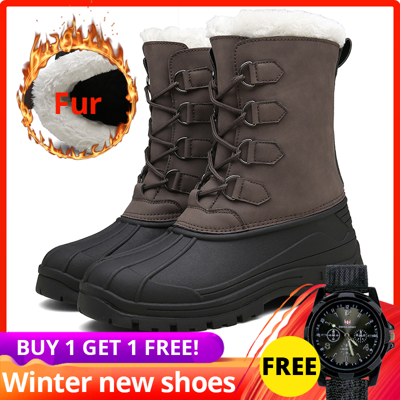 39-47 men snow boots rubber ankle high top leather High Quality Casual Warm with Fur Plush shoes men winter #XWMQ-6