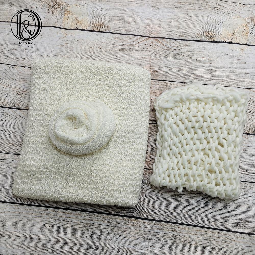Don&Judy 150*100cm Backdrops + 50x40cm Blanket + 140x30cm Knit Wrap Photo Set Newborn Blanket Background For Photo Shoot Prop