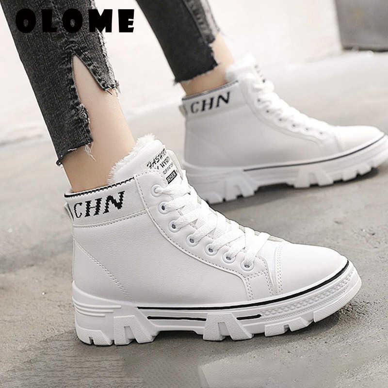 الشتاء الثلوج الأحذية الجديدة اللبيدة الأسود مكتنزة أحذية رياضية الإناث زائد المخملية حذاء أبيض البرية طالب النساء القطن الدانتيل يصل الأحذية