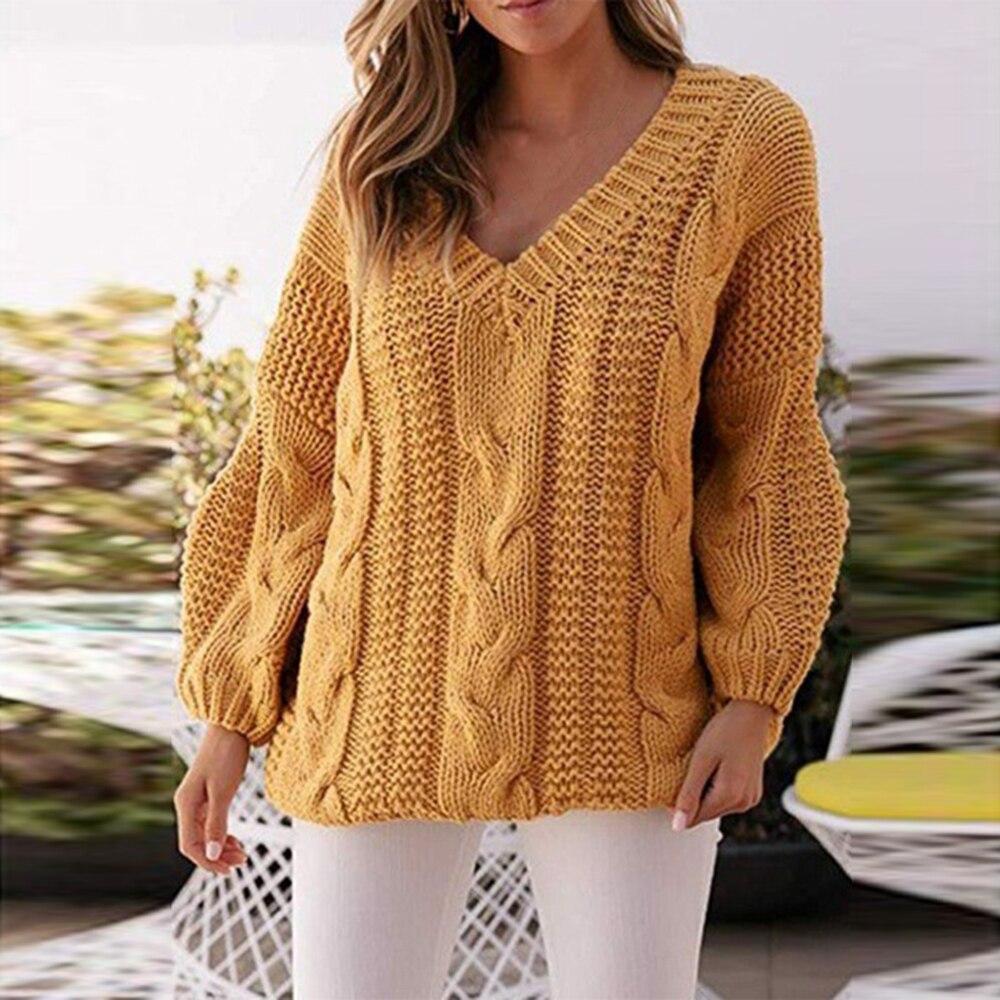 Женский желтый свитер в рубчик с v-образным вырезом, осенне-зимний пуловер, Женский вязаный свитер, джемпер с рукавом-фонариком, женский свит...