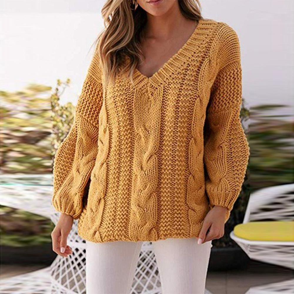 Women Ribbed Yellow Sweater V-neck  Autumn Winter Pullover Female Knitted Sweater Jumpers Lantern Sleeve Twisted Women's Sweater
