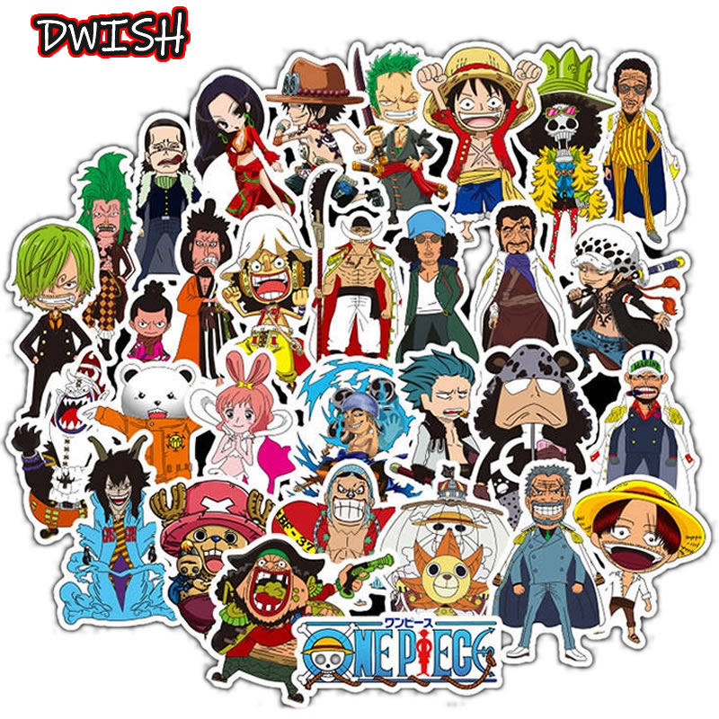10 30 50pcs Cartoons Anime ONE PIECE Children Waterproof Stickers Skateboard Guitar Suitcase Graffiti Sticker Kids