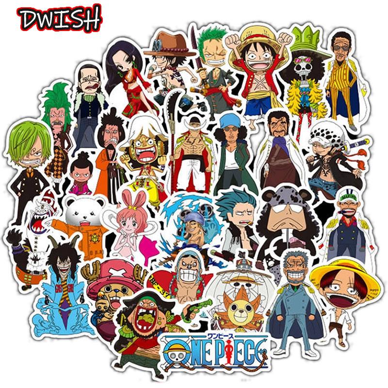 50pcs/Pack Cartoons Anime ONE PIECE Children Waterproof Stickers Skateboard Guitar Suitcase Graffiti Sticker Kids Classic Toy