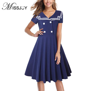 MISSJOY Sailor Collar Short Sleeve A Line Knee Length Pin up Skater Student Dress Vintge Clothing Preppy Style Women 2018 Summer