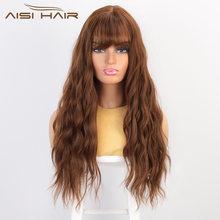 Aisi hair длинный волнистый коричневый парик с челкой синтетические