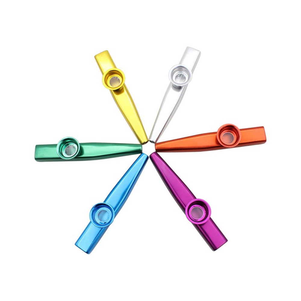 6 Colors Aluminum Alloy Metal Kazoo Diaphragm Mouth Flute Harmonica Kids Party Gift For Kids Music Lovers Optional