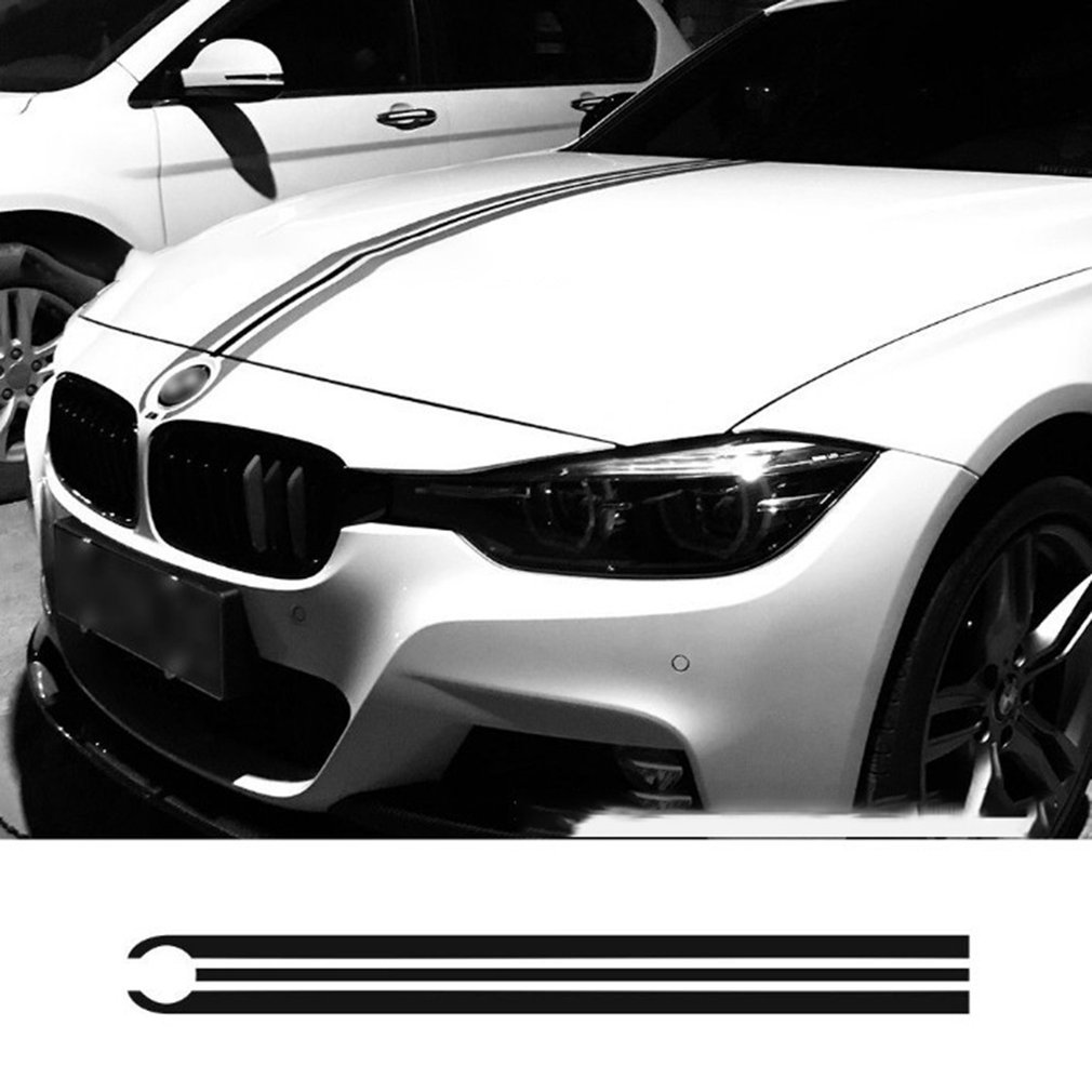 Car Hood Bonnet Racing Stripes Lines Decals Engine Cover <font><b>Stickers</b></font> For Bmw E46 E36 E90 F30 F31 F34 E39 E60 <font><b>F10</b></font> F11 F07 G30 image