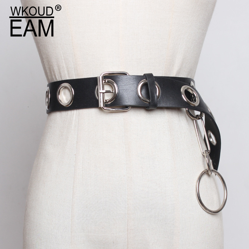 WKOUD EAM 2019 New Fashion Wide Belt For Women Solid Metal Rings Annularity Punk Style Casual Female Tide Cinturon Mujer ZK026