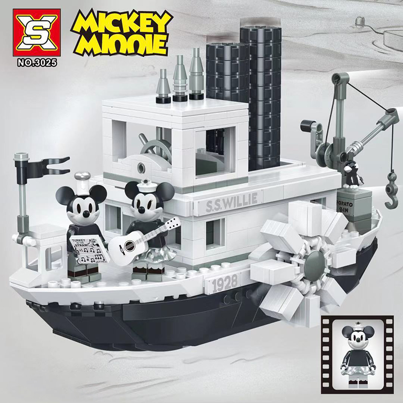 3025 Mickey Mouse Building Blocks Sets Bricks Mickey Minnie Steamboat Willie Compatible LegoingLYs IDEAS Series 21317 Gift Toys