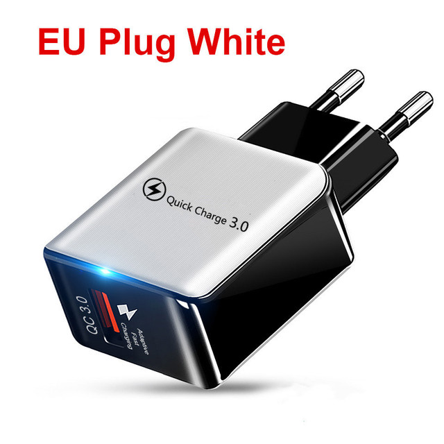 18W Quick Charge 3.0 Fast Mobile Phone Charger EU Plug Wall USB Charger Adapter For iPhone 11 Pro XR XS Max Samsung Redmi Huawei