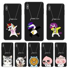 Cute Cat Custom DIY Name Text Black Soft TPU Silicone Phone Case Cover For iPhone 11 Pro X XR XS MAX 5 6 6S 7 8 Plus
