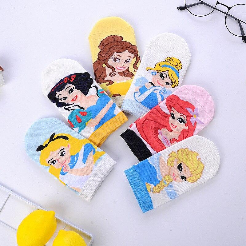 Милые летние детские носки для принцессы русалки, принцессы Анны, Белоснежки, милые хлопковые нескользящие носки для девочек с героями муль...