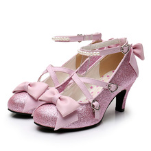 Shoes Lolita Cross-Bandage Party-High-Heeled Love-Bucket-Cosplay Sweet Cute Girl Lace