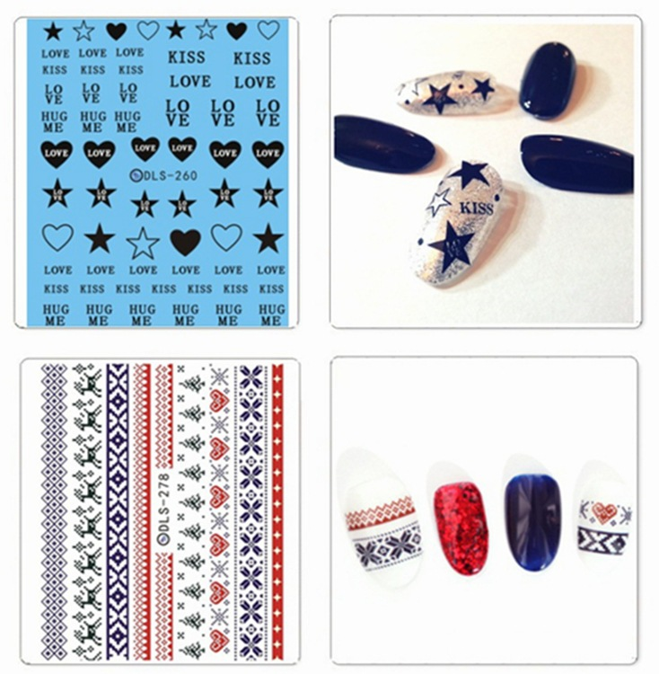 Special Offer Promotional New Products Manicure Watermark Flower Stickers Lettered Decorative Pattern Heart Christmas Palm Star