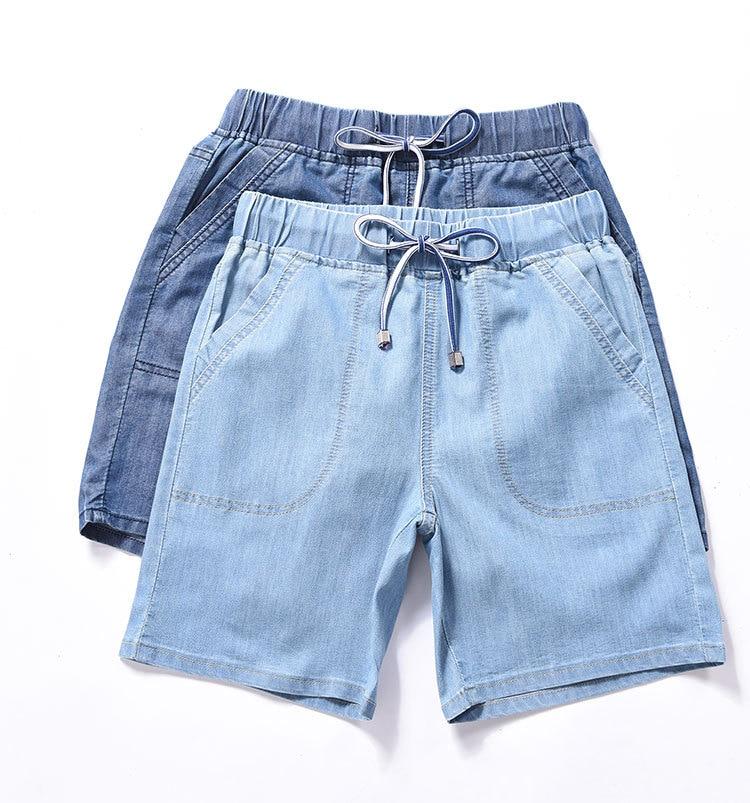 Women Plus Size Bermuda Shorts Elastic High Waist Breeches Capri Summer Knee-Length Wide Leg Loose Short Jeans Female