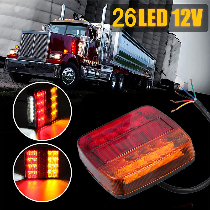 2pcs 12V Trailer Truck 26 LED Taillight Tail Light Rear Reverse Stop Indicator Lamp Turn Signal Brake 6 LED Number Plate Light
