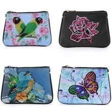 DIY Diamond Painting Bag Embroidery Cross Stitch Wallet National Style Handbag Drilling Diamond Leather Women Storage Bag Gifts стоимость