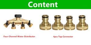 Image 4 - 1PC 4 Way Brass Tap Adaptor Hose Valve Manifold Hose Splitter Tap Adaptors Hose End Fittings Four Channel Water Distributor