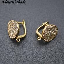 Crochets de boucle doreille en métal en forme de pièce de monnaie ronde de haute qualité, constatations de bijoux, set de perles en CZ, 30 pièces par Lot
