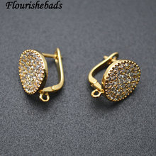 High Quality Round Coin Shape Metal Earring Hooks Jewelry Findings CZ Beads Setting 30pc Per Lot