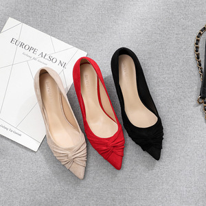 Image 3 - 2020 Shoes Woman Slip Ons Small Cat Thin Med Heels Pumps Solid Flock Bowtie Butterfly knot Office Lady Elegant Sexy Wedding Pump