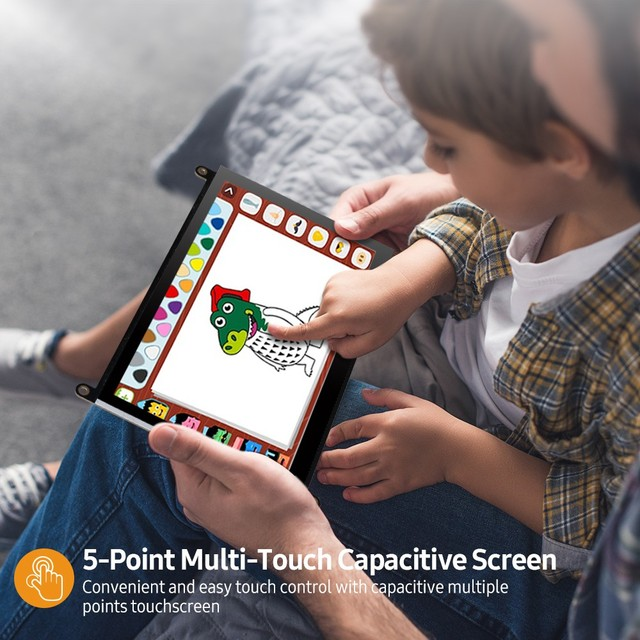 UPERFECT Portable Monitor Raspberry Pi Touchscreen 7-Inch 1024X600 With Dual Speakers Capacitive IPS Second Screen HDMI Display 3