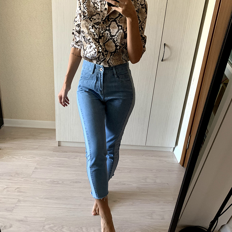 BIVIGAOS 19 New Spring Autumn Womens Cropped Jeans Korean Side Stitching Washed Denim Straight Pants Boyfriend Jeans For Women 11