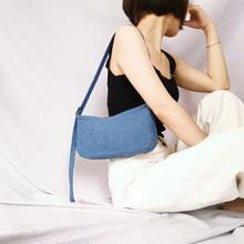 Fashion Denim Baguette Bags Women Shoulder Chic Half Month Casual Solid Color Ladies Totes Messenger Purses New