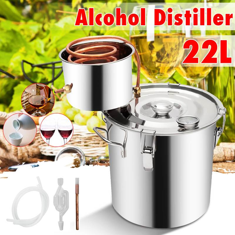 Efficient 5GAL/22L Distiller Moonshine Alcohol Stainless Copper DIY Home Water Wine Essential Oil Brewing Kit|Distillers| |  - title=