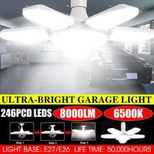 80w iluminação industrial deformável e27 conduziu a luz da garagem do fã super brilhante 6000lm 2835 conduziu a lâmpada industrial alta da baía para a oficina