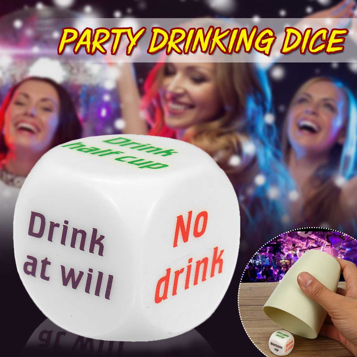 2pcs 25mm English Drink Dice Games Gambling Mora Dice For Bar Party KTV Drinking Wine Decider Dice Fun Toy