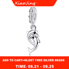 925 sterling silver Animal fish Dolphin with Zircon charms beads fit pandora bracelet Pendant fashion jewelry making women gift france popular jewelry 925 sterling silver handcuffs bracelet for men women with rope zircon silver pendant bracelet menottes