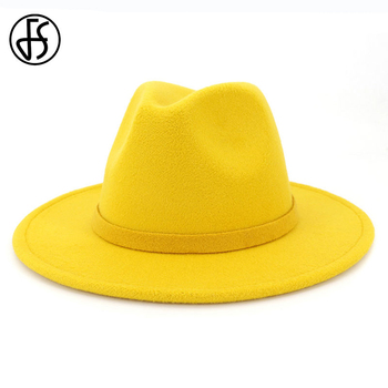 FS Yellow Wool Felt Jazz Hat Men Wide Brim Fedora Hat For Women Wool Panama Hats Black Trilby Cap Party Vintage Top Hat