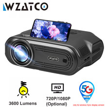 WZATCO E80 5G Wifi Sync display mini LED Projector Android Portable Proyector Home Theater Smart Phone Beamer 1080P Optional
