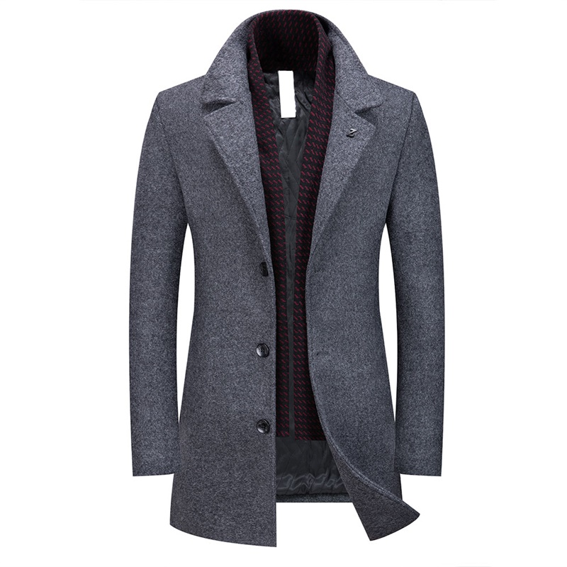 Men Fashion Solid Lapel Single-breasted Peacoat Winter Warm Thicken Jacket