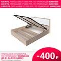 Кровать Селена с ПМ (Дуб сонома/Cayman св. (экокожа), ЛДСП/Экокожа, Дуб сонома, 1400х2000 мм) Зарон
