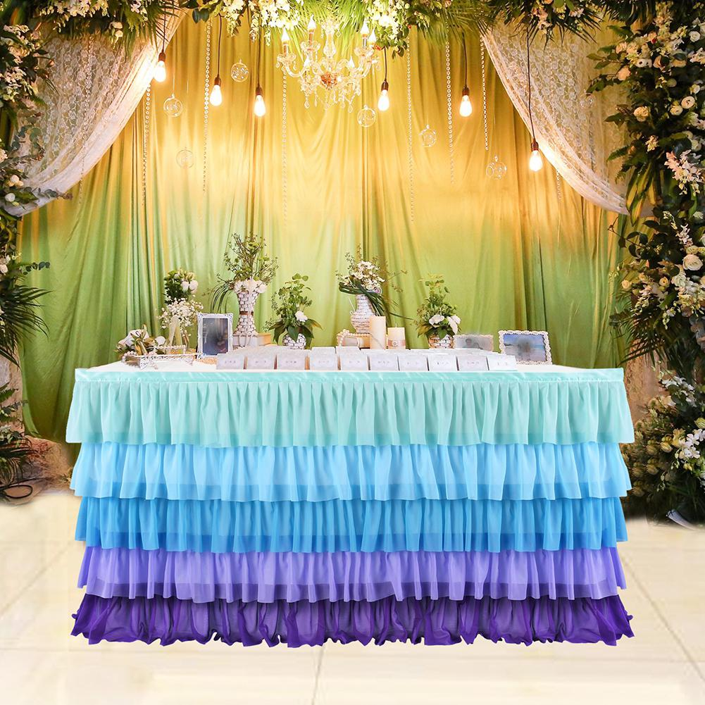 Wedding Decoration Table Skirt 5 Layers Purple Blue Mosaic Chiffon Wedding Party Table Skirt