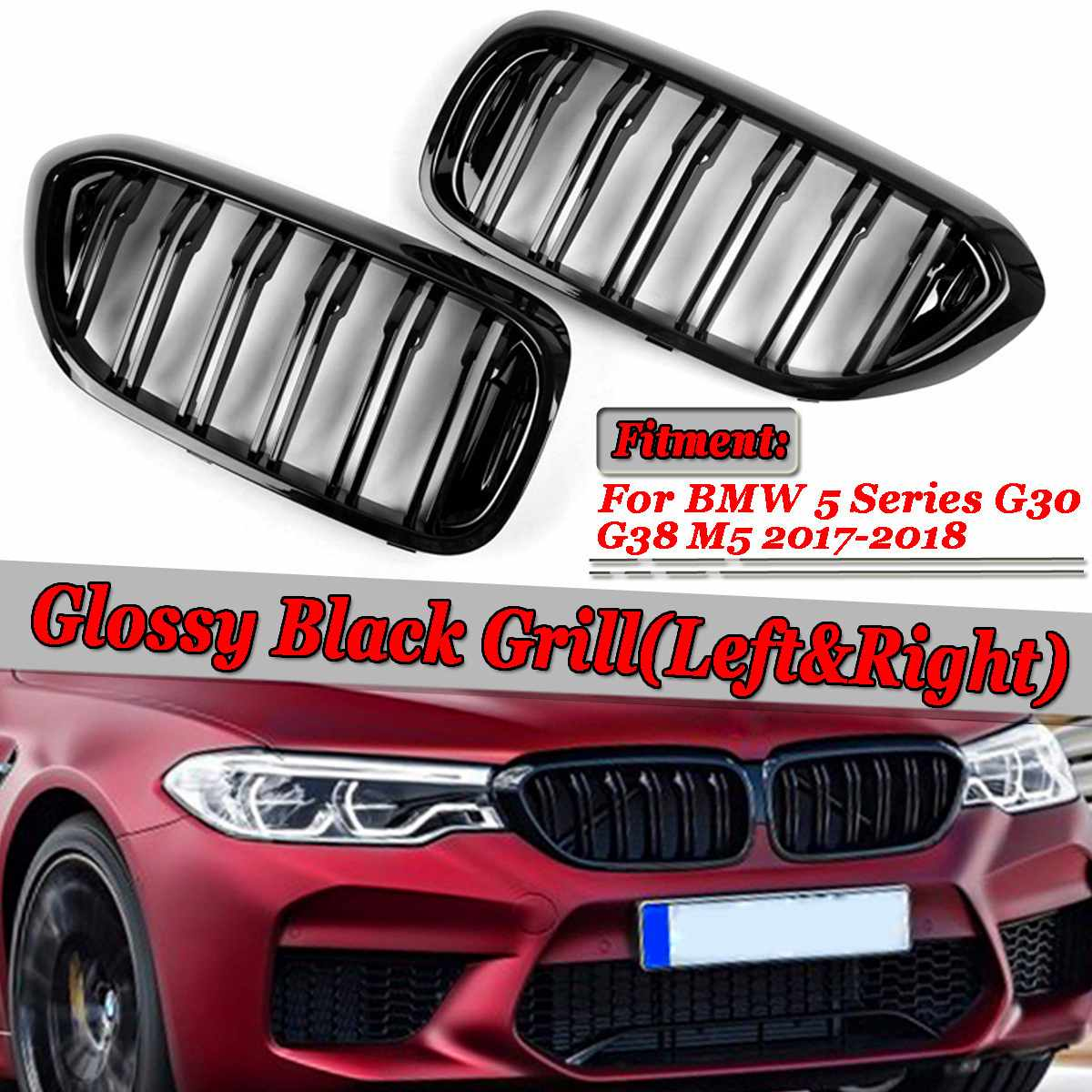 A Pair Gloss Black Car Front Bumper Kidney Grille <font><b>Grills</b></font> Car Front Bumper Grille For BMW 5 Series <font><b>G30</b></font> G31 G38 M5 2017-2018 image