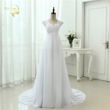 New Arrival 2016 Robe De Mariage White / Ivory Appliques Lace Chiffon A-Line Wedding Dress Bridal Gowns Vestido Noiva 3399280