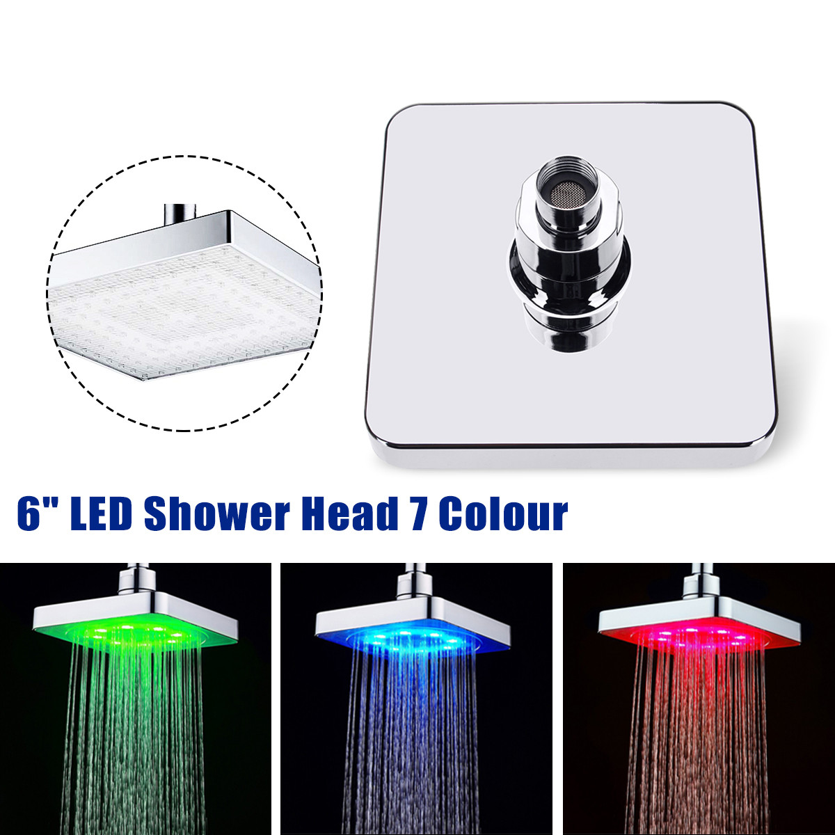 6 Inch ABS Square Adjudtable Rainfall LED Changing Shower Head Water Flow Spray Temperature Sensor Chrome Finish