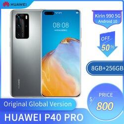 Téléphone portable d'origine Huawei P40 Pro 5G 6.58 pouces écran OLED 8GB + 256 GB téléphone intelligent 50MP + 32MP 4200mAh Kirin 990 Android 10