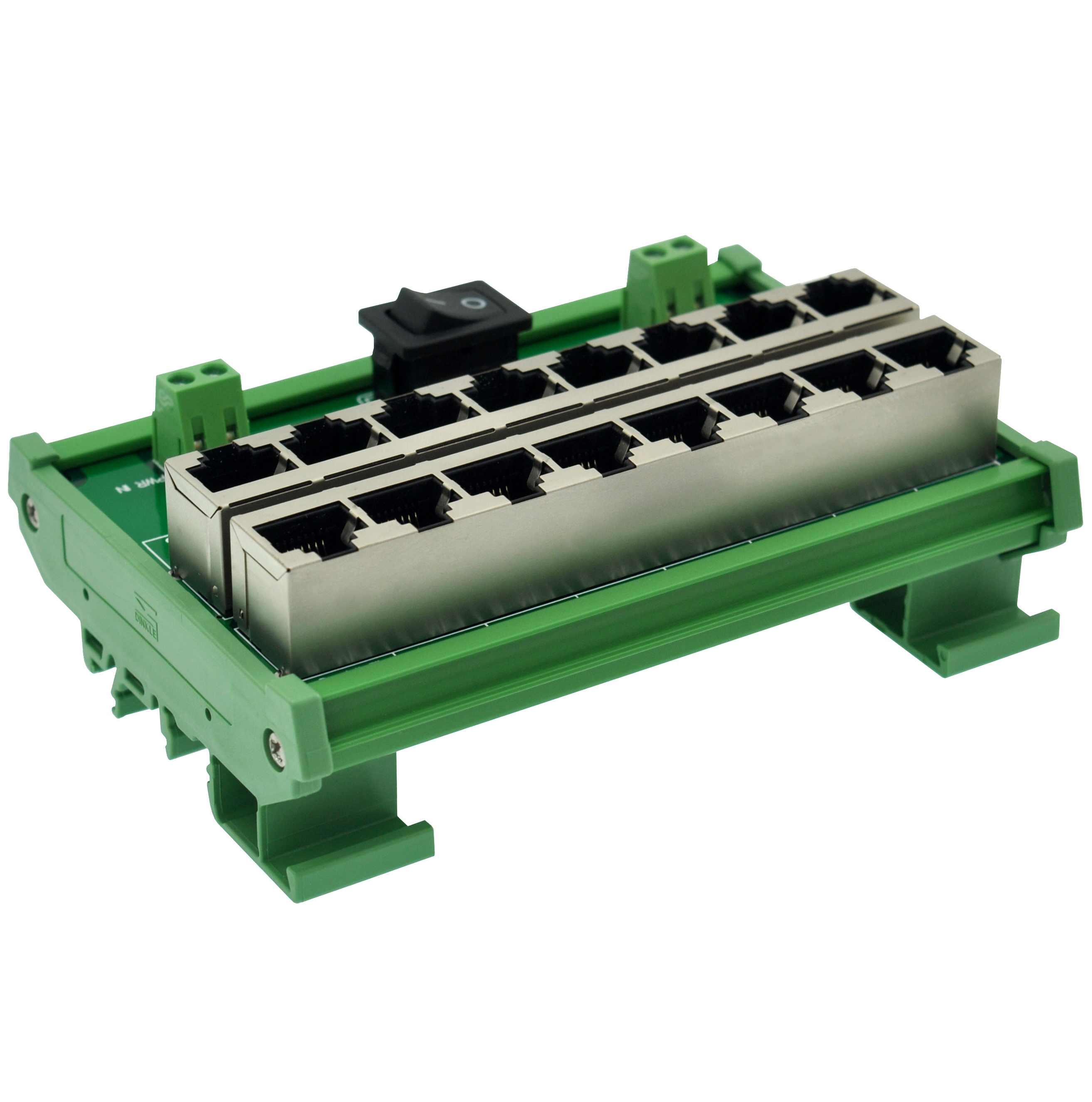 CZH-LABS DIN Rail Mount 8 Ports Passive RJ45 PoE Power Injection Board, Power Over Ethernet Injector Module.