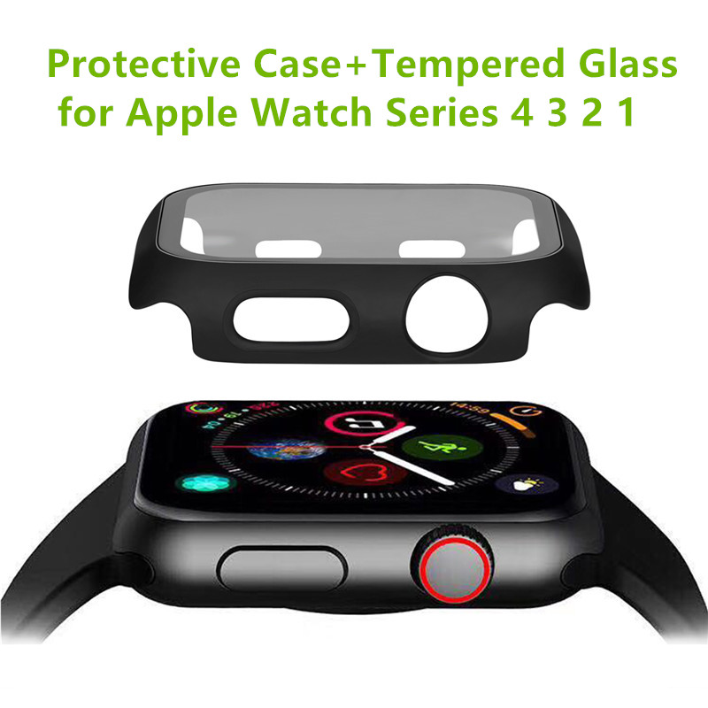 Watch Protective Case Cover For Apple Watch Band 38/42/40/44mm Tempered Flim Glass Screen Protector for iWatch Series 5 4 3 2 1|Watch Cases| |  - title=