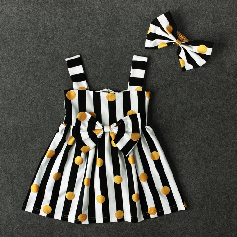 PatPat 2020 New Summer 2-piece Lovely Striped Polka Dots Bow Decor Strap Sleeveless Dressess and Headband Set Baby Girl Sets