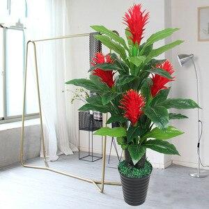 Искусственные красные цветы, дерево удачи для украшения дома, зеленое растение, искусственные деревья для домашнего декора, Комнатные раст...