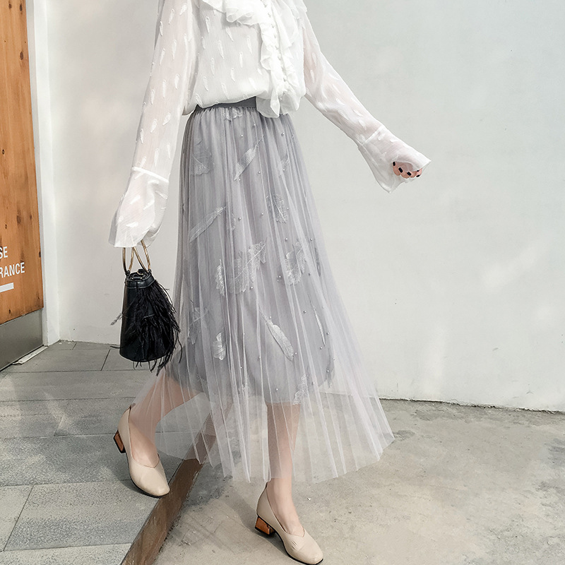 Industrial Beads Gauze Mid-length Skirt 2019 Spring And Summer High-waisted Feather Embroidered Pleated Fairy Skirt