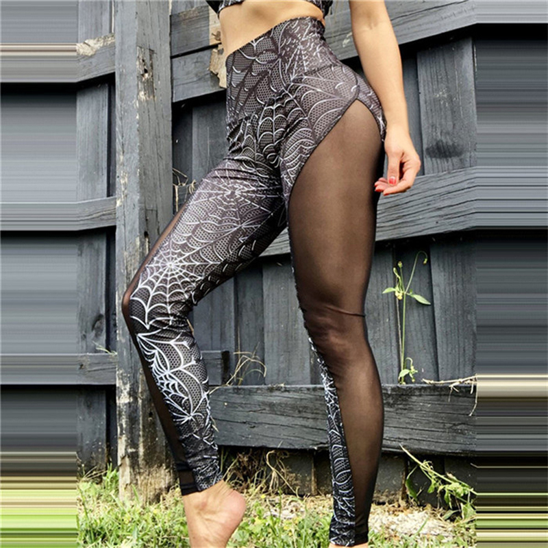 Spider Printed Ruched Butt Lifting Fitness Leggings Womens High Waist Mesh Slim Leggings Printed Workout Seamless Leggins Mujer