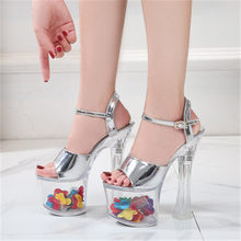 Ultra high heel crystal 2020 sandals, models summer waterproof platform non-slip platform sexy ultra high heel sandals(China)